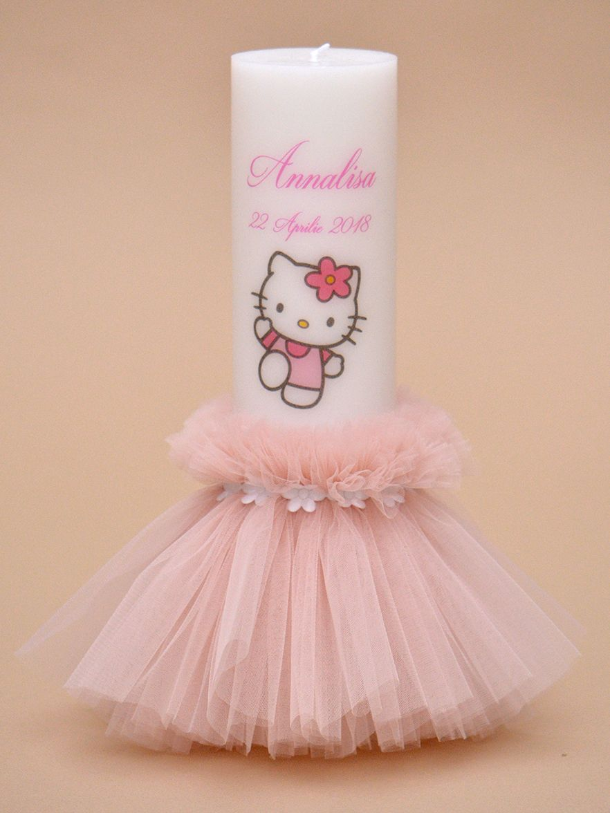 Lumanare de botez Hello Kitty
